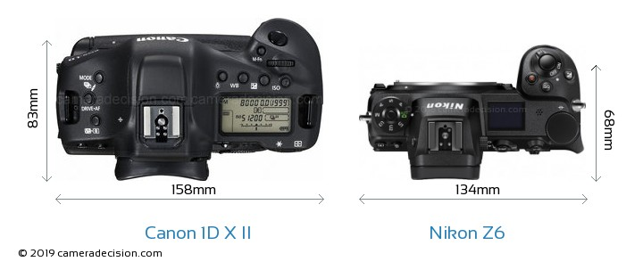 Canon 1D X II vs Nikon Z6 Camera Size Comparison - Top View