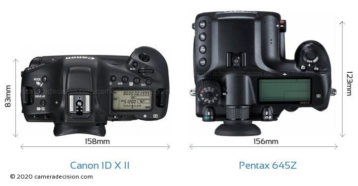 Canon 1D X II vs Pentax 645Z Camera Size Comparison - Top View