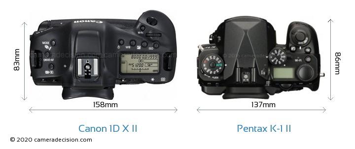 Canon 1D X II vs Pentax K-1 II Camera Size Comparison - Top View