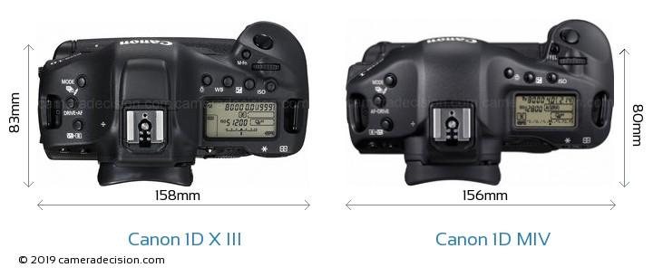 Canon 1D X III vs Canon 1D MIV Camera Size Comparison - Top View