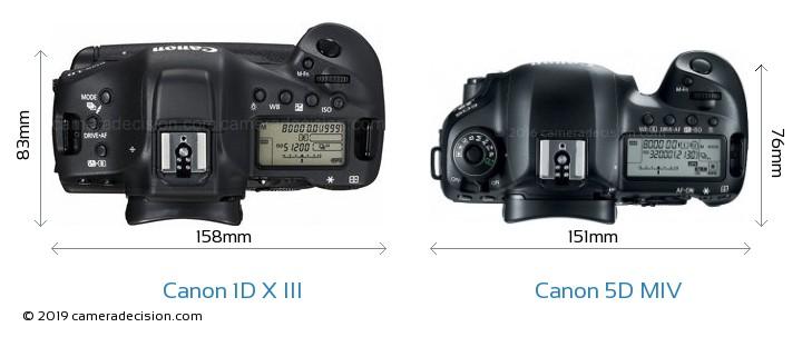 Canon 1D X III vs Canon 5D MIV Camera Size Comparison - Top View