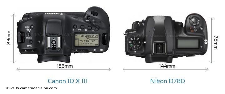 Canon 1D X III vs Nikon D780 Camera Size Comparison - Top View