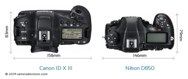 Canon 1D X III vs Nikon D850 Camera Size Comparison - Top View