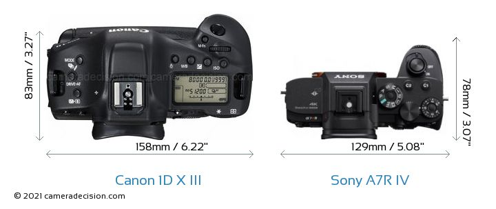 Canon 1D X III vs Sony A7R IV Camera Size Comparison - Top View
