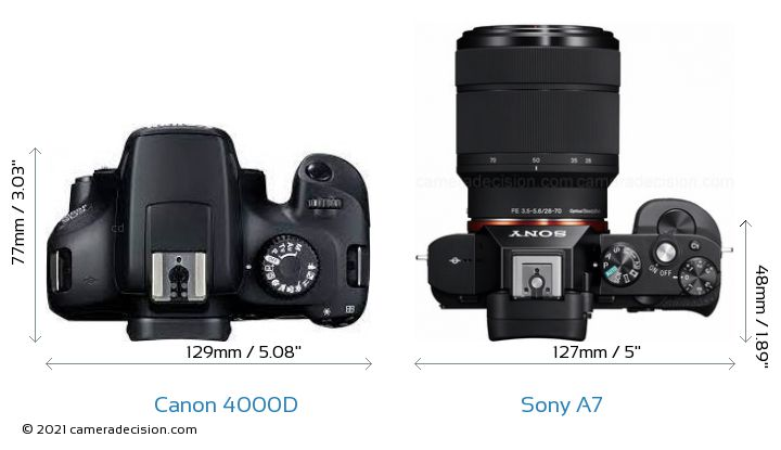 Canon 4000D vs Sony A7 Camera Size Comparison - Top View