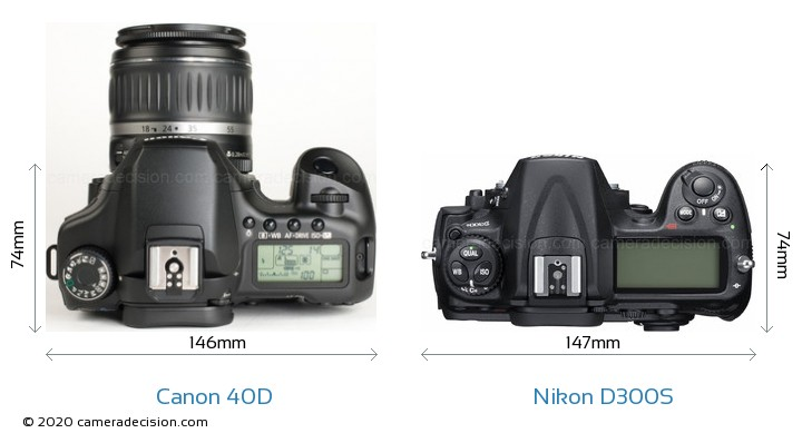 Canon 40D vs Nikon D300S Size Comparison