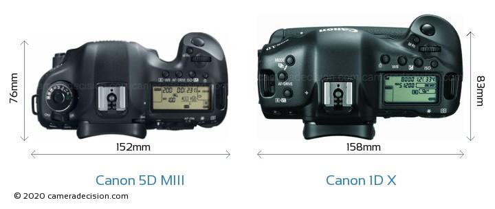 Canon 5D MIII vs Canon 1D X Camera Size Comparison - Top View