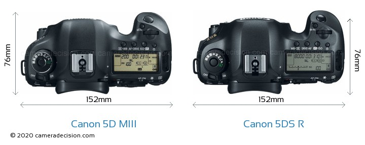 Canon 5D MIII vs Canon 5DS R Camera Size Comparison - Top View