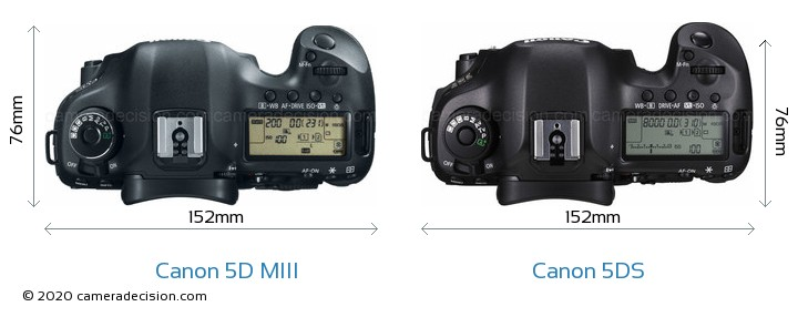 Canon 5D MIII vs Canon 5DS Camera Size Comparison - Top View