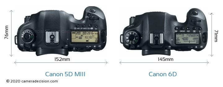 Canon 5D MIII vs Canon 6D Camera Size Comparison - Top View