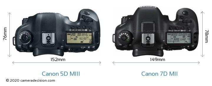 Canon 5D MIII vs Canon 7D MII Camera Size Comparison - Top View