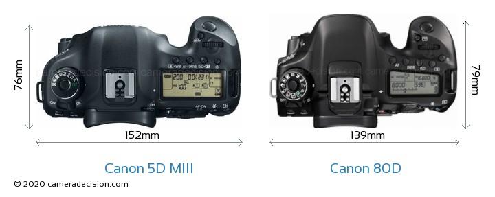 Canon 5D MIII vs Canon 80D Camera Size Comparison - Top View