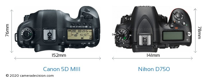 Canon 5D MIII vs Nikon D750 Camera Size Comparison - Top View