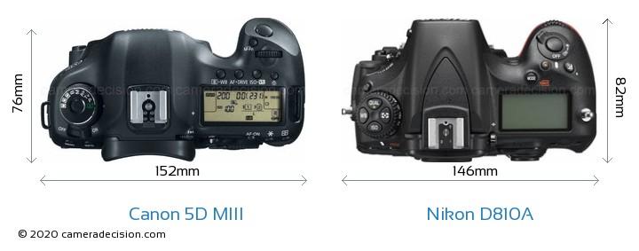 Canon 5D MIII vs Nikon D810A Camera Size Comparison - Top View