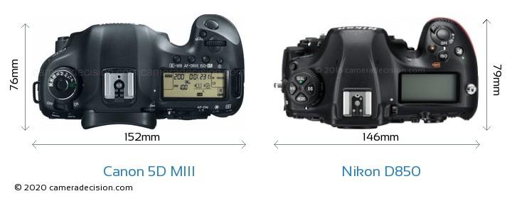 Canon 5D MIII vs Nikon D850 Camera Size Comparison - Top View