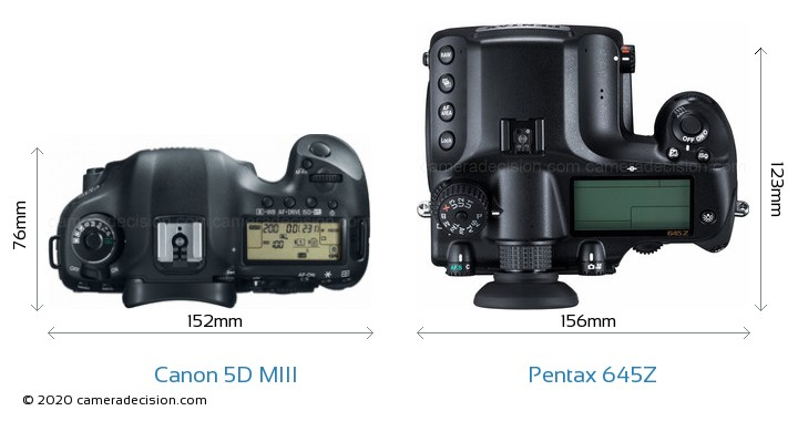 Canon 5D MIII vs Pentax 645Z Camera Size Comparison - Top View