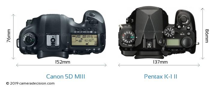 Canon 5D MIII vs Pentax K-1 II Camera Size Comparison - Top View