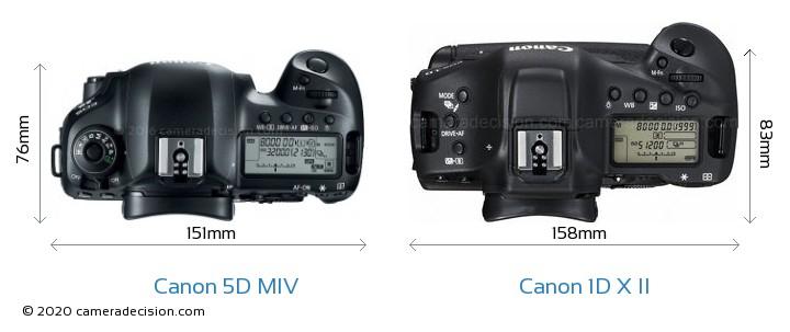 Canon 5D Mark IV vs Canon 1D X II Camera Size Comparison - Top View