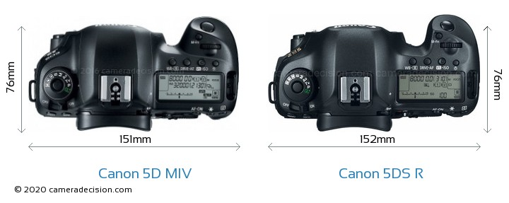 Canon 5D MIV vs Canon 5DS R Camera Size Comparison - Top View