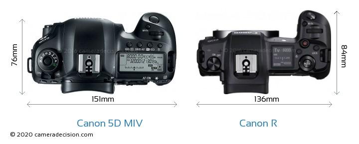 Canon 5D MIV vs Canon R Camera Size Comparison - Top View