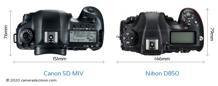Canon 5D MIV vs Nikon D850 Camera Size Comparison - Top View