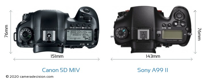 Canon 5D Mark IV vs Sony A99 II Camera Size Comparison - Top View