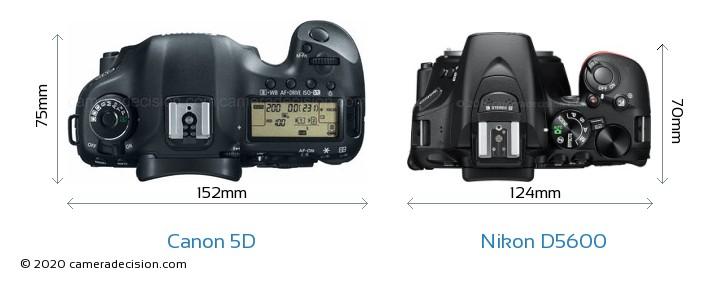 Canon 5D Vs Nikon D5600 Camera Size Comparison