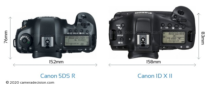 Canon 5DS R vs Canon 1D X II Camera Size Comparison - Top View