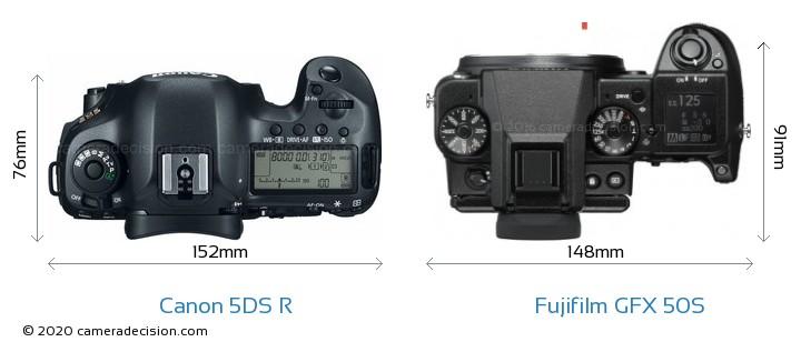 Canon 5DS R vs Fujifilm GFX 50S Camera Size Comparison - Top View