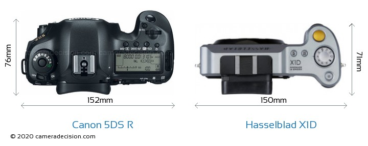 Canon 5DS R vs Hasselblad X1D Camera Size Comparison - Top View