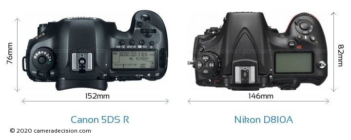 Canon 5DS R vs Nikon D810A Camera Size Comparison - Top View