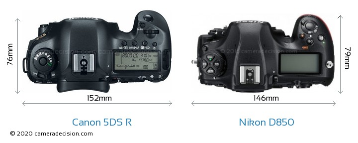 Canon 5DS R vs Nikon D850 Camera Size Comparison - Top View