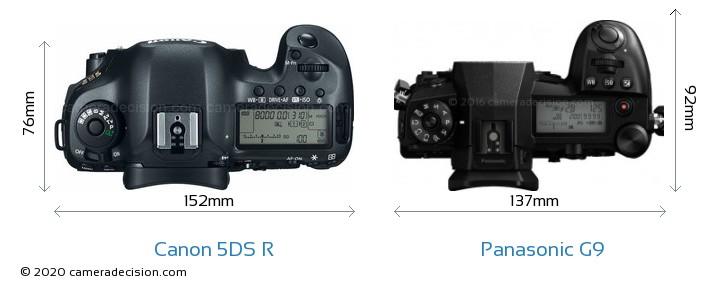 Canon 5DS R vs Panasonic G9 Camera Size Comparison - Top View