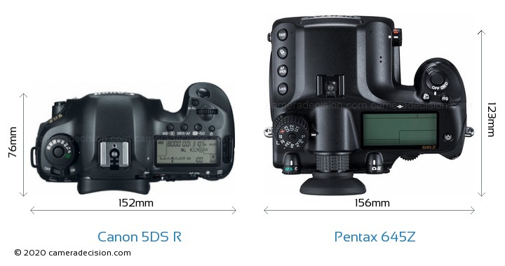 Canon 5DS R vs Pentax 645Z Camera Size Comparison - Top View