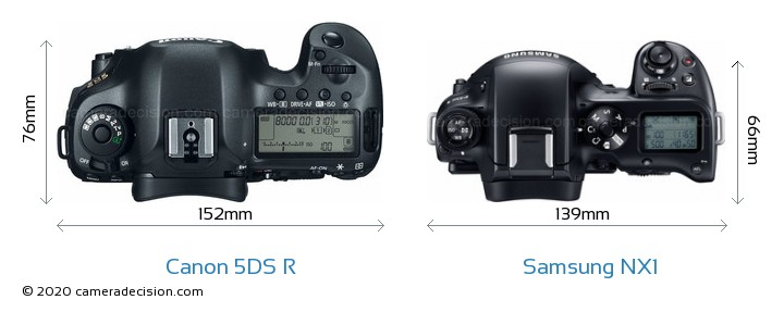 Canon 5DS R vs Samsung NX1 Camera Size Comparison - Top View