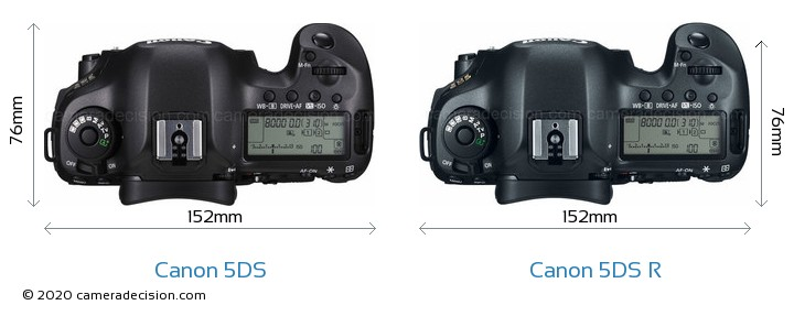 Canon 5DS vs Canon 5DS R Camera Size Comparison - Top View