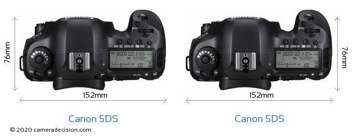 Canon 5DS vs Canon 5DS Camera Size Comparison - Top View