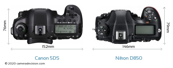 Canon 5DS vs Nikon D850 Camera Size Comparison - Top View