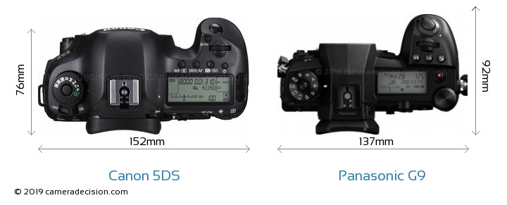 Canon 5DS vs Panasonic G9 Camera Size Comparison - Top View