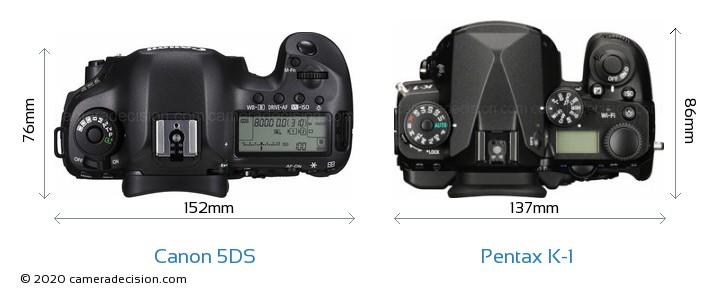 Canon 5DS vs Pentax K-1 Camera Size Comparison - Top View