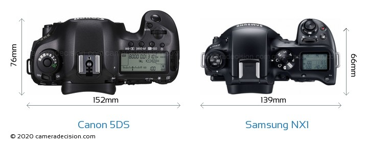 Canon 5DS vs Samsung NX1 Camera Size Comparison - Top View