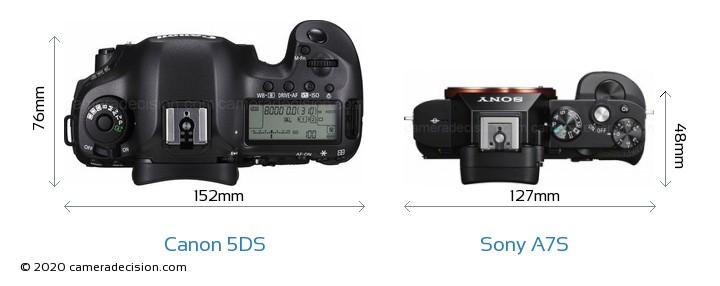 Canon 5DS vs Sony A7S Camera Size Comparison - Top View
