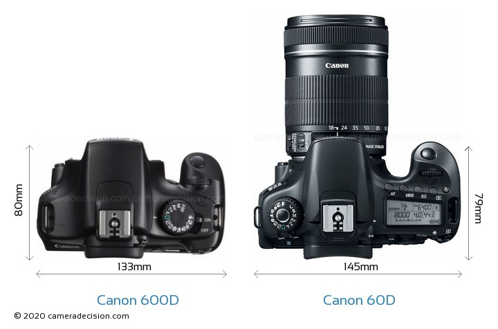 Canon 600D vs Canon 60D Camera Size Comparison - Top View