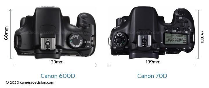 Canon 600D vs Canon 70D Camera Size Comparison - Top View