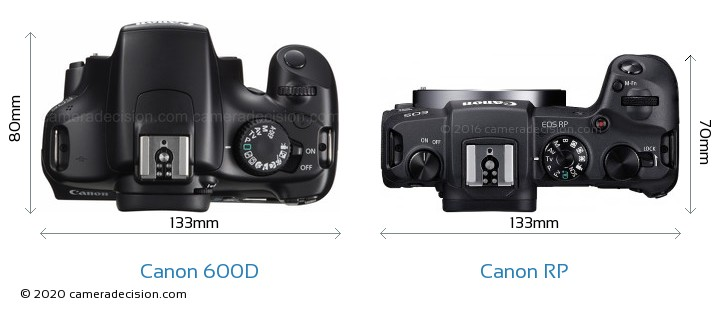 Canon 600D vs Canon RP Camera Size Comparison - Top View