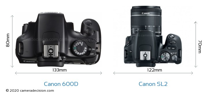 Canon 600D vs Canon SL2 Camera Size Comparison - Top View