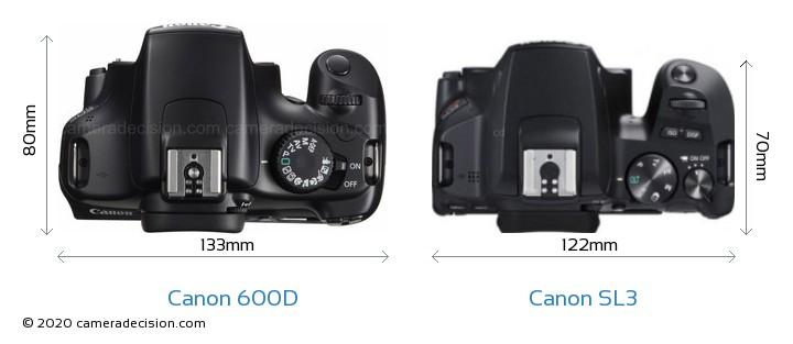 Canon 600D vs Canon SL3 Camera Size Comparison - Top View