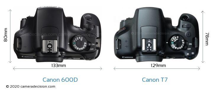 Canon 600D vs Canon T7 Camera Size Comparison - Top View