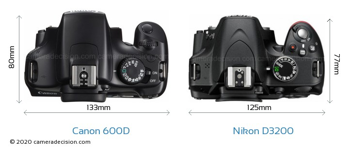 Canon 600D vs Nikon D3200 Camera Size Comparison - Top View