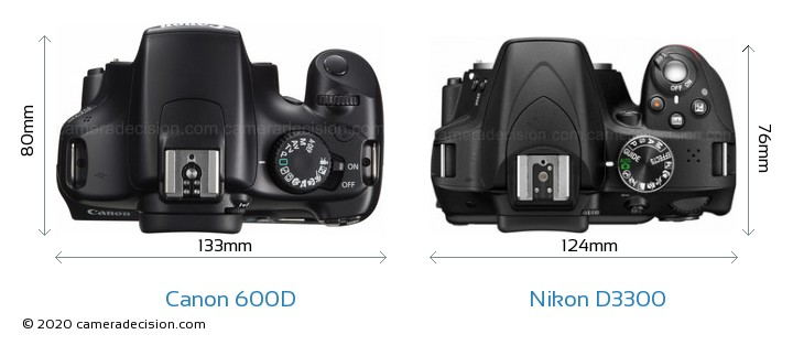 Canon 600D vs Nikon D3300 Camera Size Comparison - Top View